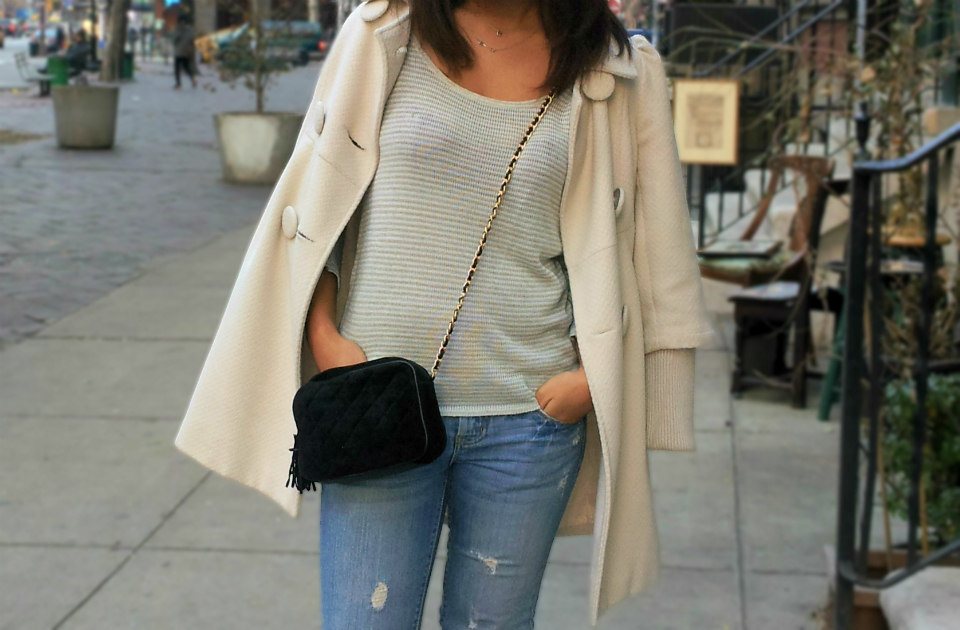 Off white coat, striped sweater, distressed denim, american eagle, forever21