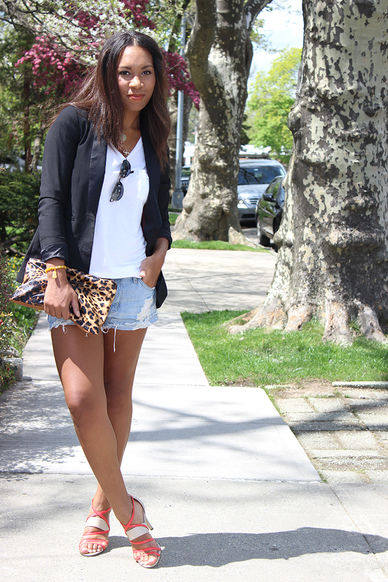 Frayed Boyfriend Fit, The way to my hart, Cotton On, Leopard Print Clutch, Forever 21, Distressed Denim Shorts