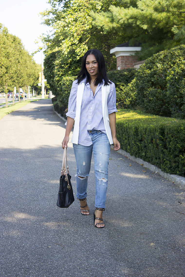 Pinstripe Button Down and White Vest, distressed skinny jeans, destroyed jeans, american eagle distressed skinny jeans, Jessica Hart, The Way To My Hart, Michael Kors Tote Handbag, Missguided eyelet sandals,